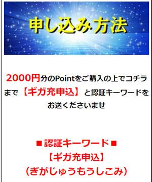 2000円分のPointをご購入の上でコチラまで【ギガ充申込】と認証キーワードをお送くださいませ