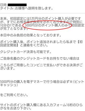 本来、初回認定には5万円分のポイント購入が必要ですが、すでにお相手様が負担をされておりますので特別に10分の1である、5000円分のポイント購入のみで初回認定が完了となります。